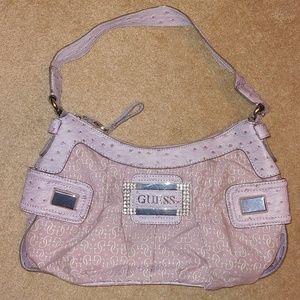 Guess Lavender Mixed Fabric Shoulder Bag